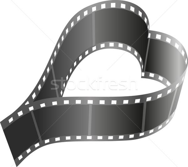 формы сердца Film Reel любви дизайна фон черный Сток-фото © mtmmarek