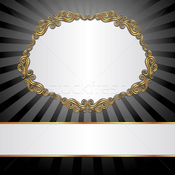 Biały czarno białe złoty ramki tekstury streszczenie Zdjęcia stock © mtmmarek