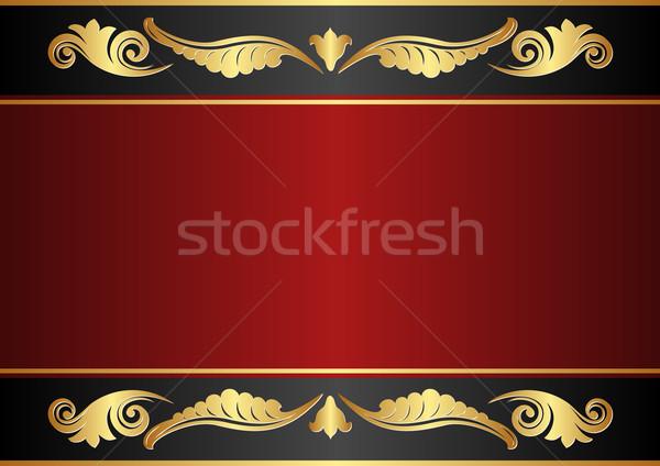 Kastanjebruin zwarte goud ornamenten textuur achtergrond Stockfoto © mtmmarek