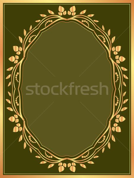 Sötét zöld arany keret textúra terv Stock fotó © mtmmarek
