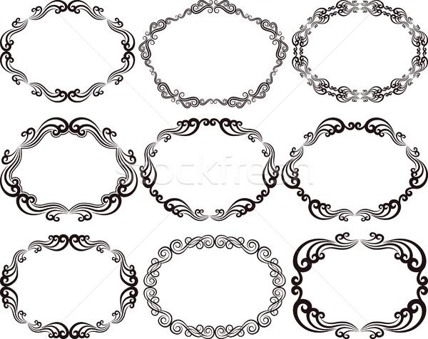 Frames ovaal decoratief textuur abstract achtergrond Stockfoto © mtmmarek