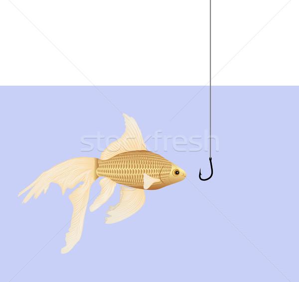 Goldfish crochet poissons mer pêche or Photo stock © mtmmarek