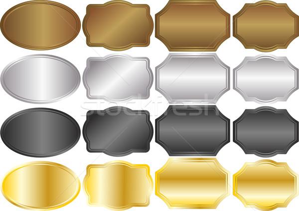 Metallic Hintergrund Banner Gold Silber Rahmen Stock foto © mtmmarek