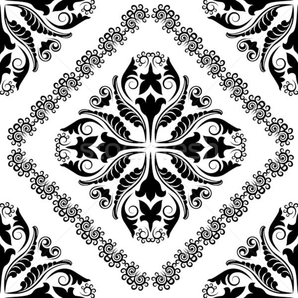 Barock Ornamente Silhouette Textur Design schwarz Stock foto © mtmmarek