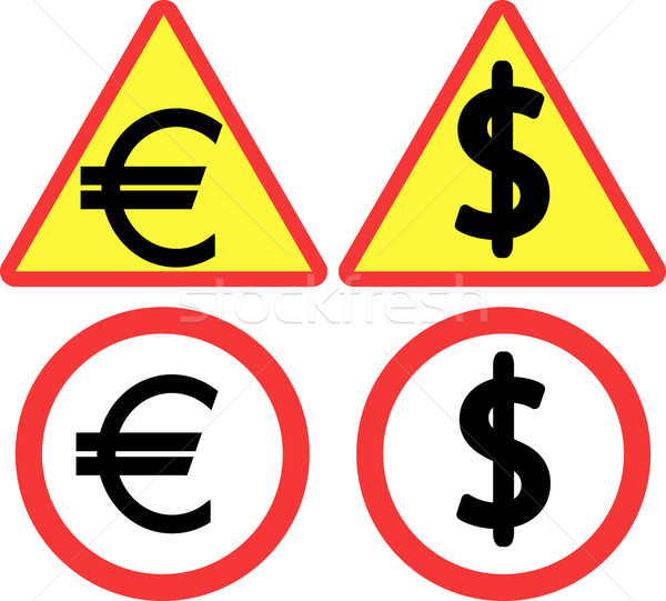 Dollar verkeersbord euro symbool business ontwerp Stockfoto © mtmmarek