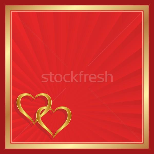 Walentynki dwa złoty serca karty lovers Zdjęcia stock © mtmmarek