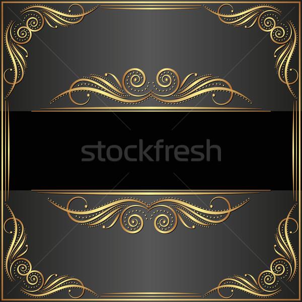черный антикварная орнамент кадр золото ретро Сток-фото © mtmmarek