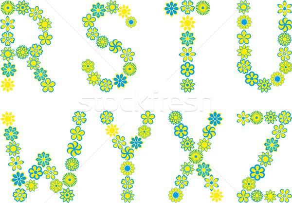 шрифт набор изолированный цветочный цветы дизайна Сток-фото © mtmmarek