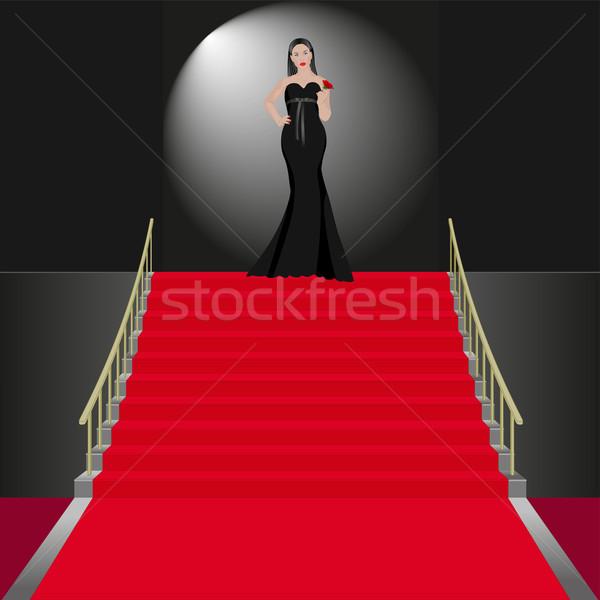 Tören göstermek kadın siyah elbise kadın model Stok fotoğraf © mtmmarek
