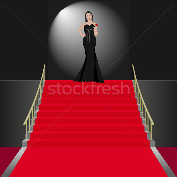Cerimonial mostrar mulheres vestido preto mulher modelo Foto stock © mtmmarek