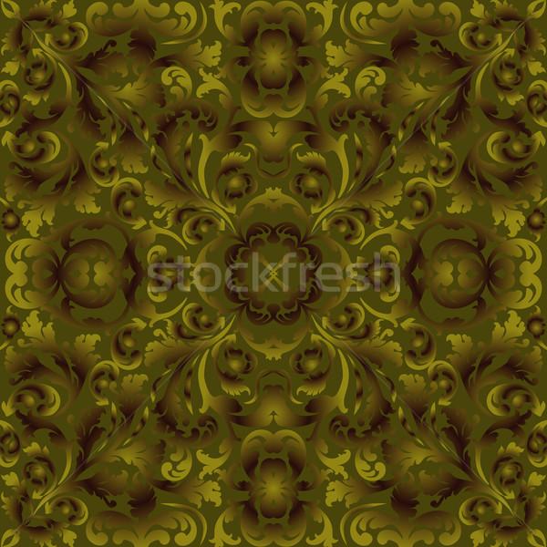Yeşil kahverengi süsler doku dizayn arka plan Stok fotoğraf © mtmmarek