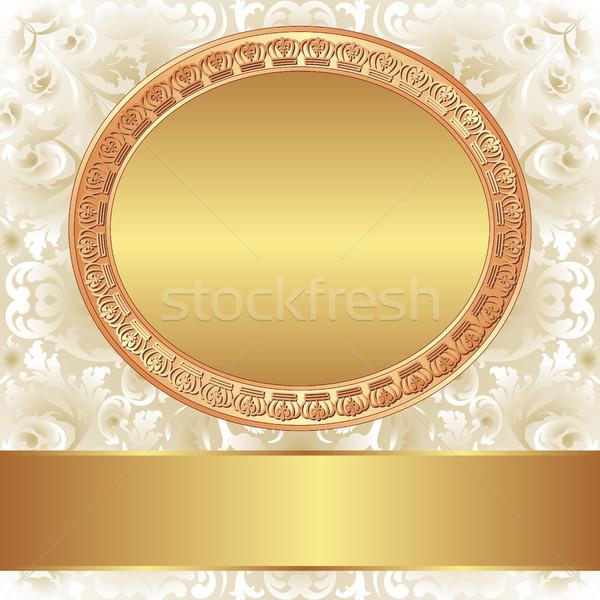 декоративный золото кадр текста пространстве пластина Сток-фото © mtmmarek
