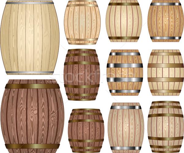 Barile set legno vino birra rovere Foto d'archivio © mtmmarek