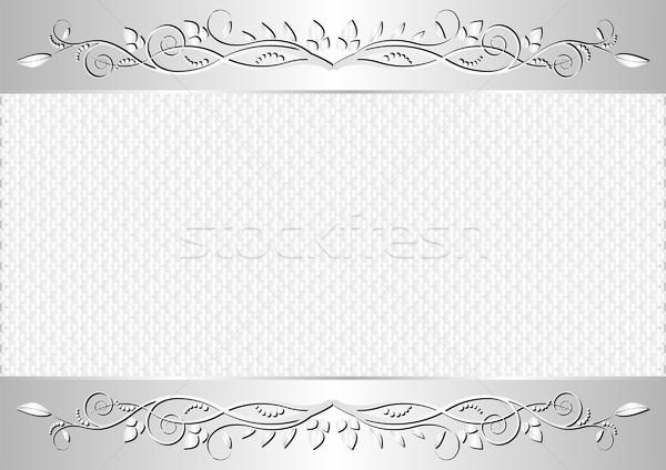 Fehér ezüst virágmintás díszek absztrakt terv Stock fotó © mtmmarek