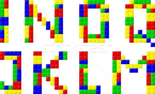 Stock fotó: Betűtípus · műanyag · kockák · zöld · kék · jókedv