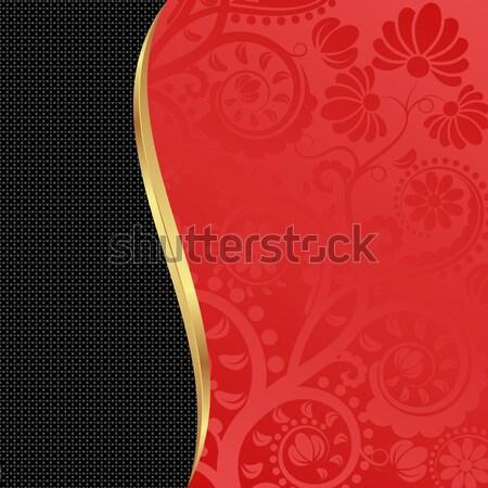 Piros fekete virágmintás díszek fém űr Stock fotó © mtmmarek