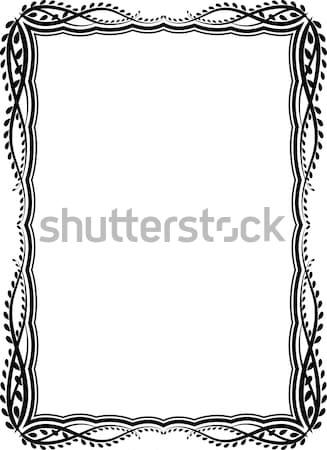 Dekoracyjny ramki prostokątny streszczenie pozostawia sylwetka Zdjęcia stock © mtmmarek