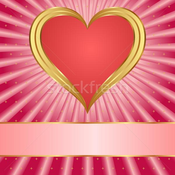 Roze Rood hart liefde achtergrond sterren Stockfoto © mtmmarek
