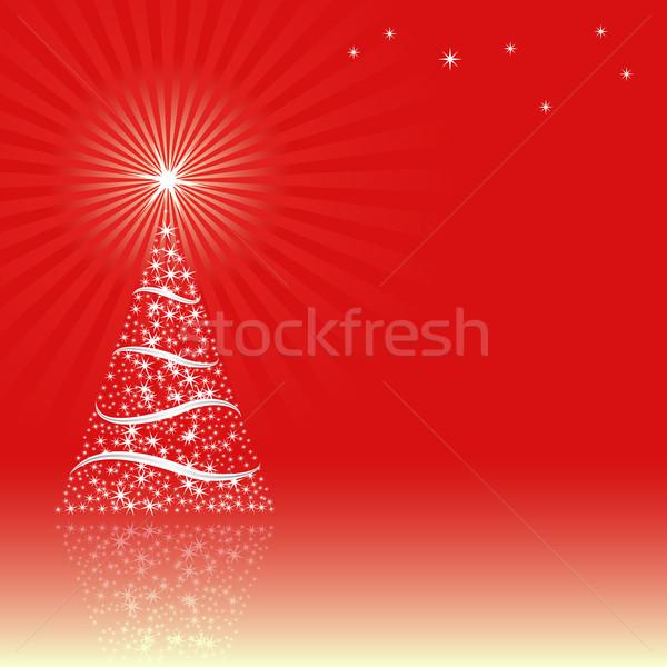 Karácsony piros karácsonyfa absztrakt háttér csillag Stock fotó © mtmmarek