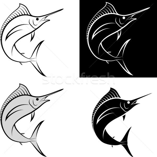 Zwaardvis geïsoleerd clip art illustratie lijn kunst Stockfoto © mtmmarek