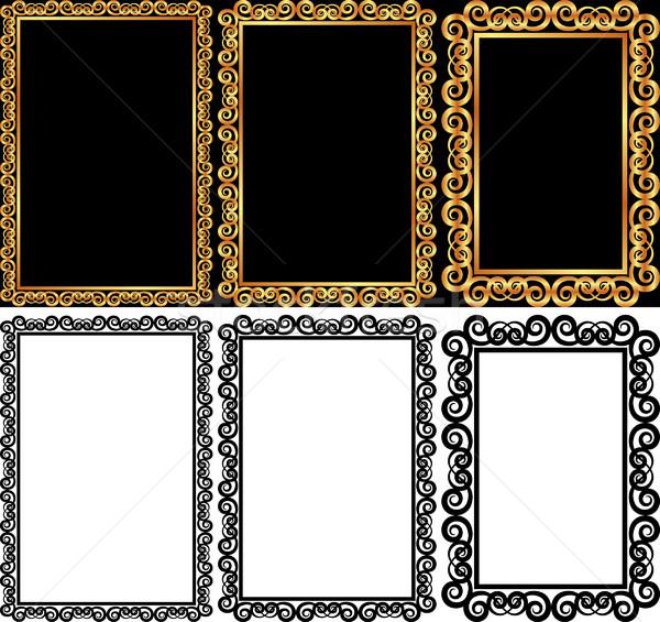 Négyszögletes keret szett izolált arany textúra Stock fotó © mtmmarek