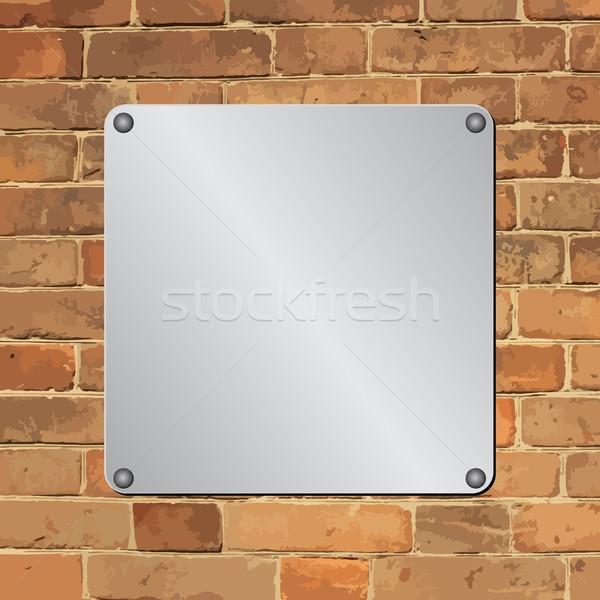 Fogkő fém téglafal tégla klasszikus ezüst Stock fotó © mtmmarek