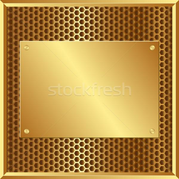 Golden Plaque Design Technologie Hintergrund Platte Stock foto © mtmmarek