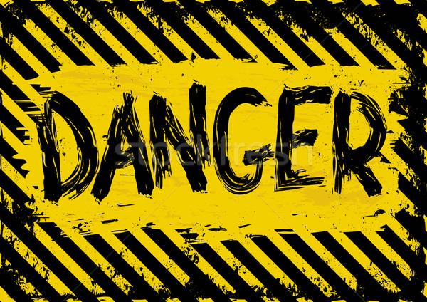 опасность Гранж желтый черный символ знак Сток-фото © mtmmarek