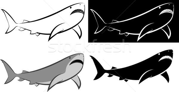 Cápa izolált clip art illusztráció vonal művészet Stock fotó © mtmmarek