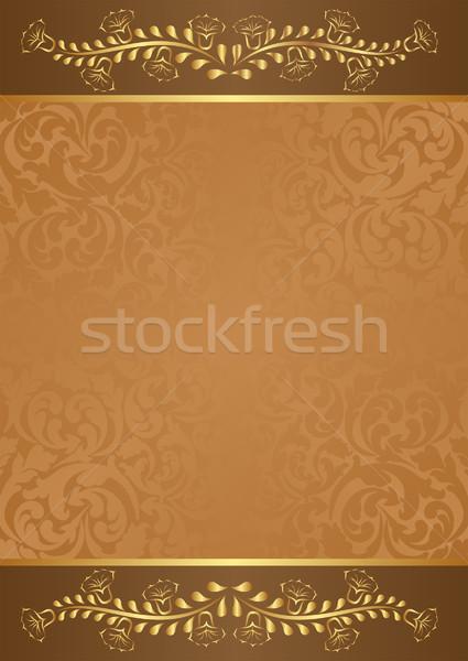 Marrom ouro floral elementos abstrato espaço Foto stock © mtmmarek