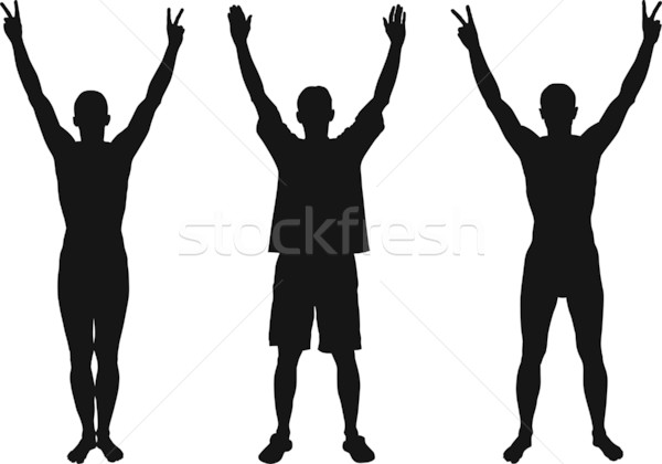 Рисованные люди с поднятыми руками