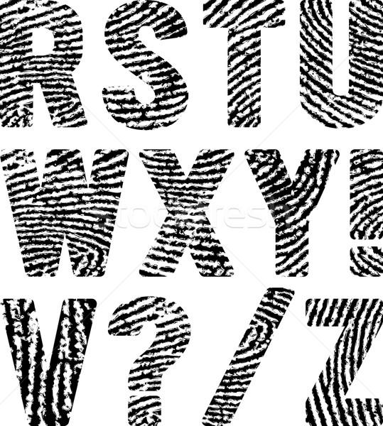 Отпечатки пальцев шрифт форма аннотация черный силуэта Сток-фото © mtmmarek
