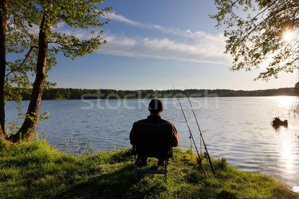 Halászat halász ül szék part tó Stock fotó © mtmmarek