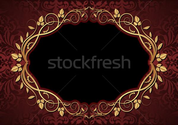 Gesztenyebarna fekete ovális virágmintás keret textúra Stock fotó © mtmmarek
