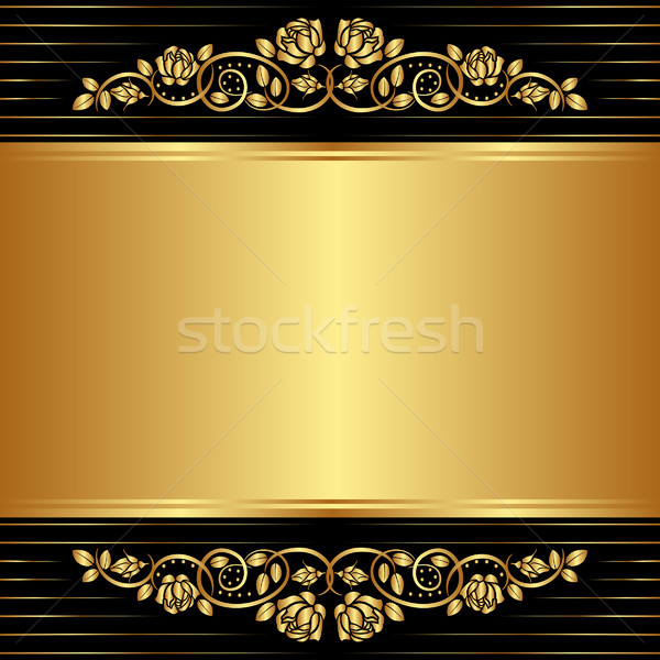 gold black background with floral ornaments Stock photo © mtmmarek