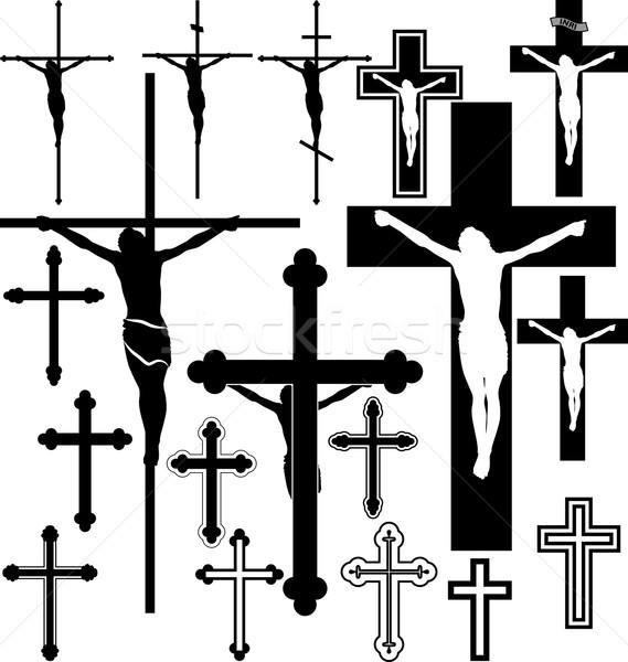 Krucyfiks krzyż podpisania sylwetka wzór wektora Zdjęcia stock © mtmmarek