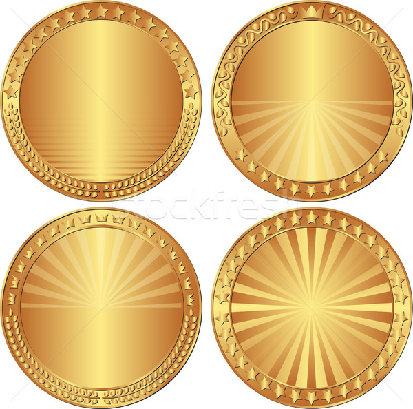 set of round backgrounds with stars, crowns and laurel wreath Stock photo © mtmmarek