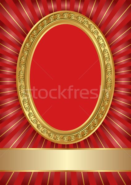 Rood gouden frame achtergrond metaal retro Stockfoto © mtmmarek
