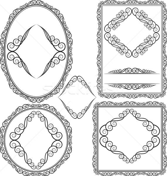Frames Platz oval rechteckige Rundschreiben Set Stock foto © mtmmarek