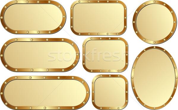Plaque Set isoliert golden Design Metall Stock foto © mtmmarek