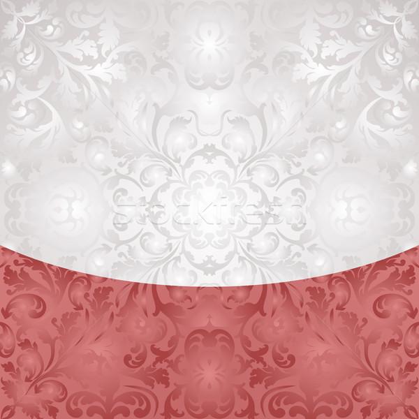 Fehér piros díszek textúra terv tapéta Stock fotó © mtmmarek