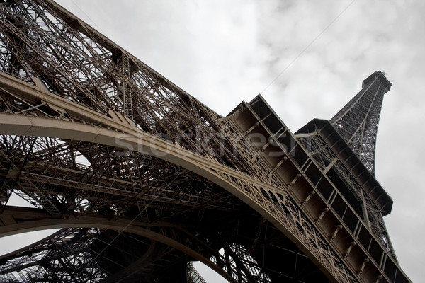 Eiffel-torony széles látószögű ősz Párizs épület kék Stock fotó © mtoome