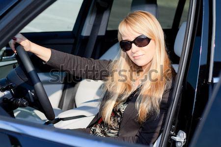 Auto babe sexy blond meisje vergadering Stockfoto © mtoome