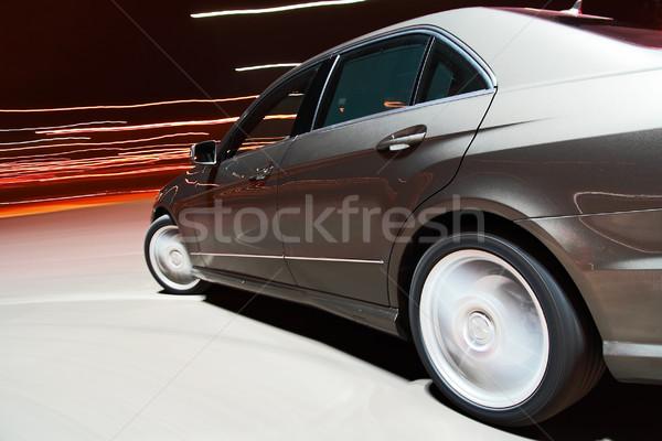 Vista laterale auto guida veloce notte strada Foto d'archivio © mtoome