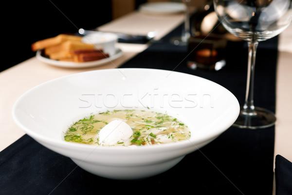 Tyúk húsleves házi készítésű tészta zöldségek étel Stock fotó © mtoome