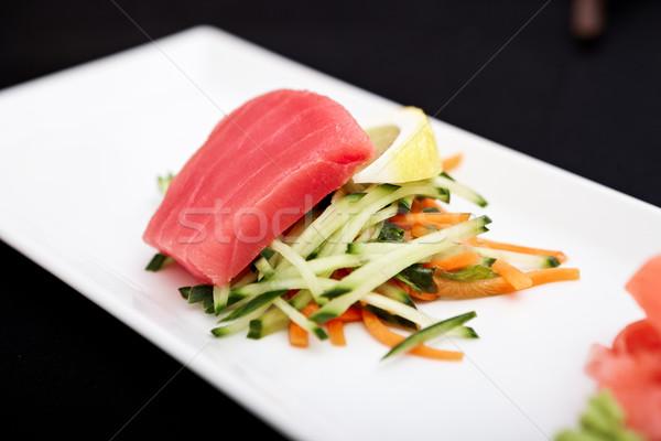 Tonno sashimi servito piatto verdura alimentare Foto d'archivio © mtoome