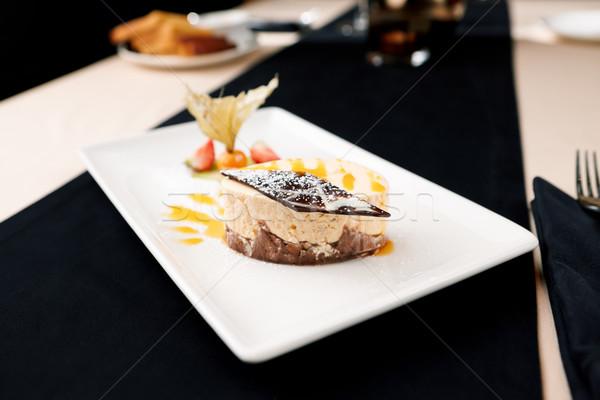 Tarta de queso mar placa alimentos torta restaurante Foto stock © mtoome