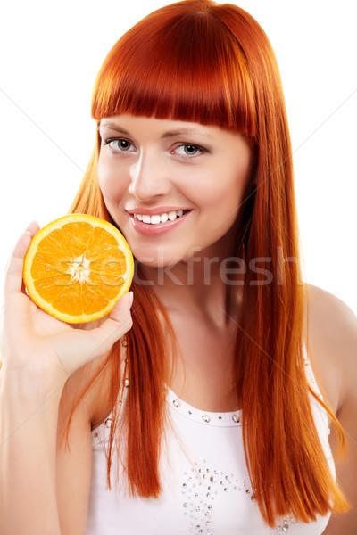 Naranja jóvenes mujer aislado blanco Foto stock © mtoome