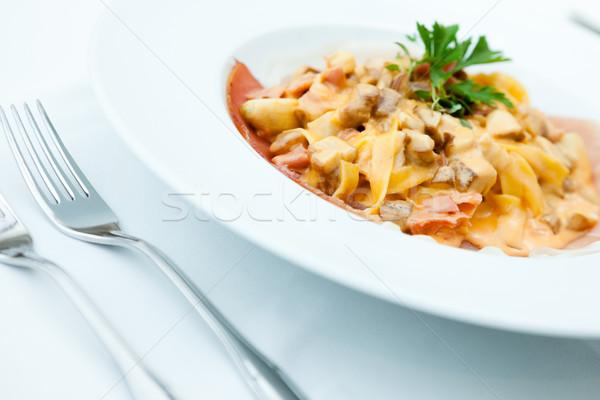 Italiano pasta setas crema salsa alimentos Foto stock © mtoome