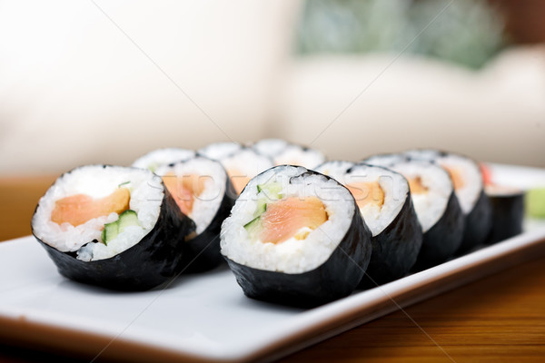 Smoked salmon roll Stock photo © mtoome